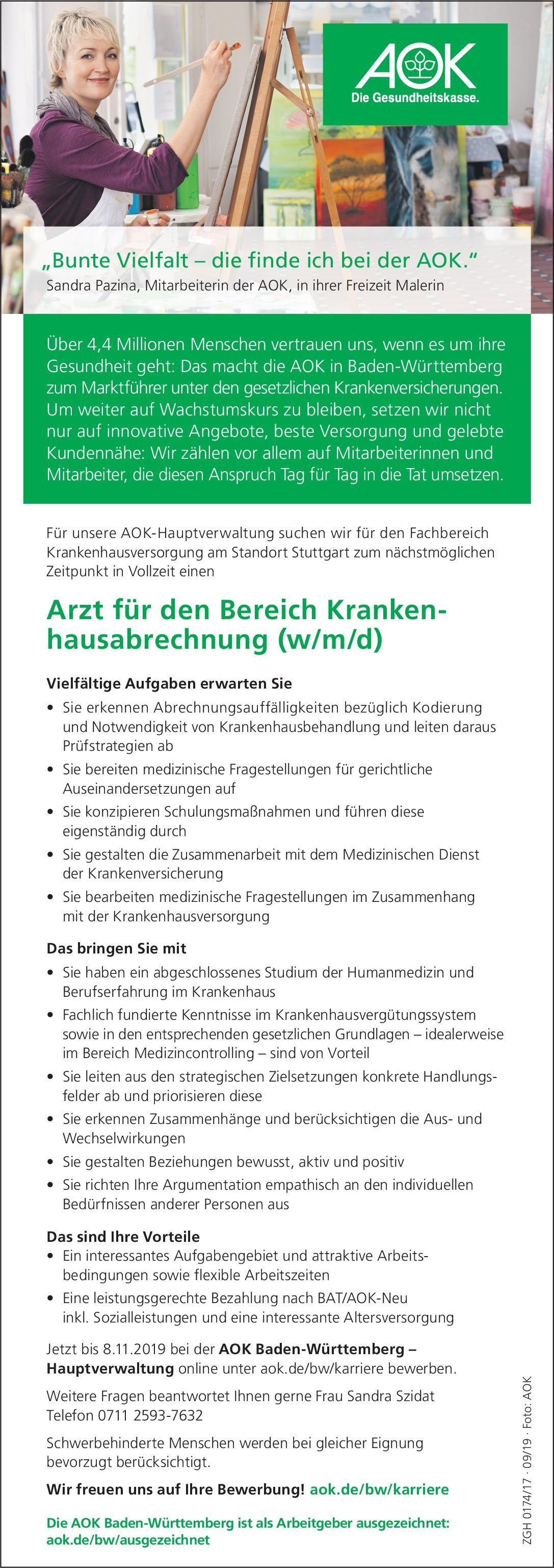AOK Baden-Württemberg – Hauptverwaltung Arzt für den Bereich Krankenhausabrechnung (w/m/d) * ohne Gebiete Arzt / Facharzt