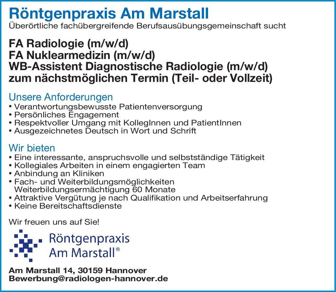 Röntgenpraxis Am Marstall Facharzt Nuklearmedizin (m/w/d) Nuklearmedizin Arzt / Facharzt