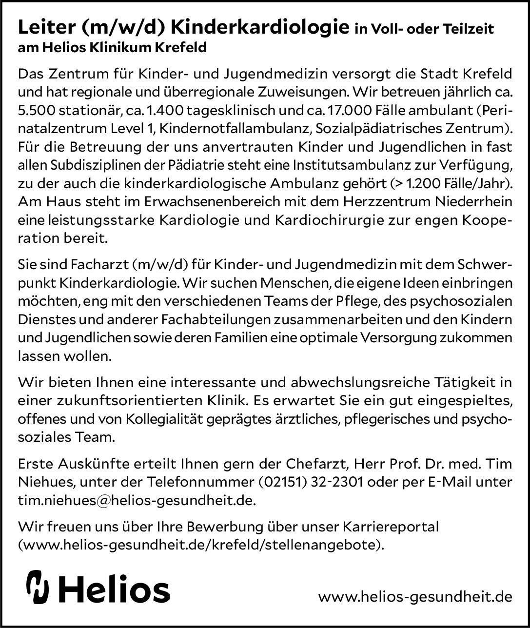 Helios Klinikum Krefeld Leiter (m/w/d) Kinderkardiologie  Kinderkardiologie, Kinder- und Jugendmedizin Arzt / Facharzt, Ärztl. Leiter