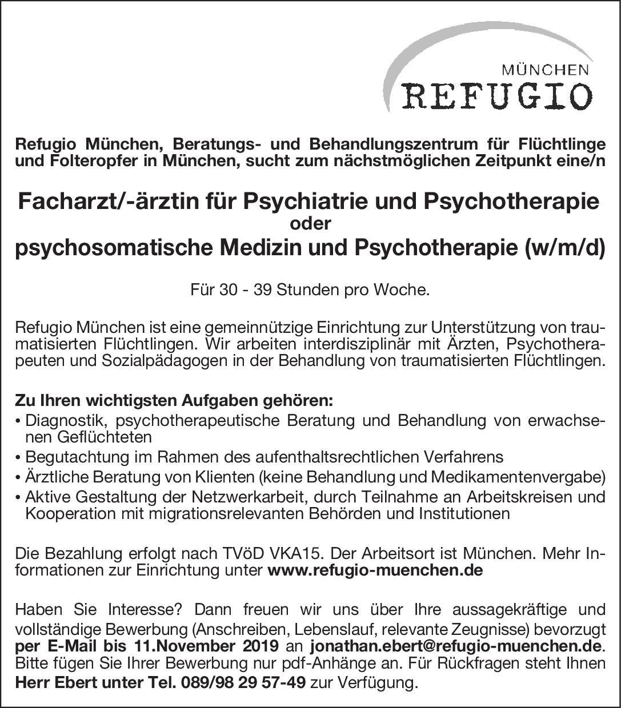 Refugio München Facharzt/Fachärztin psychosomatische Medizin und Psychotherapie (w/m/d) Psychosomatische Medizin und Psychotherapie Arzt / Facharzt