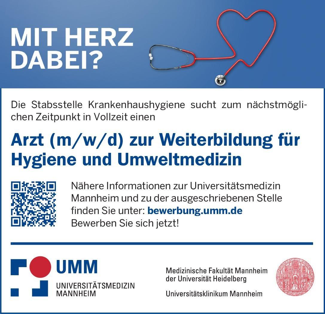 Universitätsklinikum Mannheim Arzt (m/w/d) zur Weiterbildung für Hygiene und Umweltmedizin Hygiene- und Umweltmedizin Arzt / Facharzt