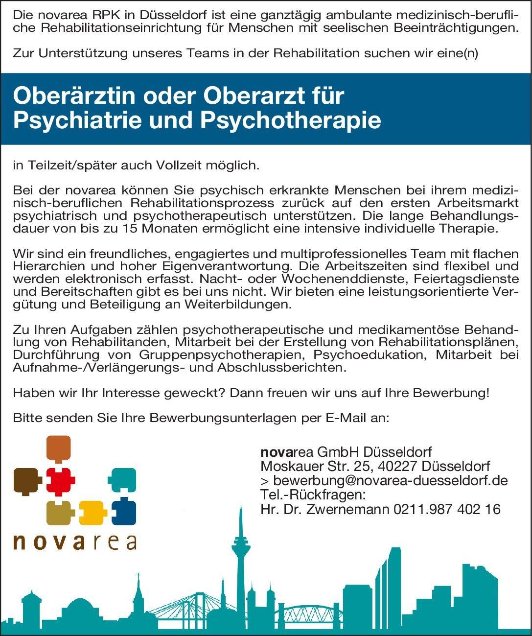 novarea GmbH Düsseldorf Oberärztin oder Oberarzt für Psychiatrie und Psychotherapie  Psychiatrie und Psychotherapie, Psychiatrie und Psychotherapie Oberarzt