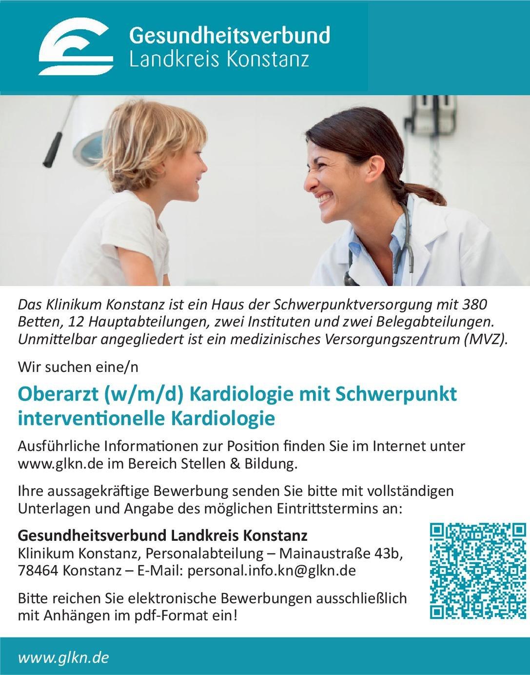 Klinikum Konstanz Oberarzt (w/m/d) Kardiologie mit Schwerpunkt interventionelle Kardiologie  Innere Medizin und Kardiologie, Innere Medizin Oberarzt