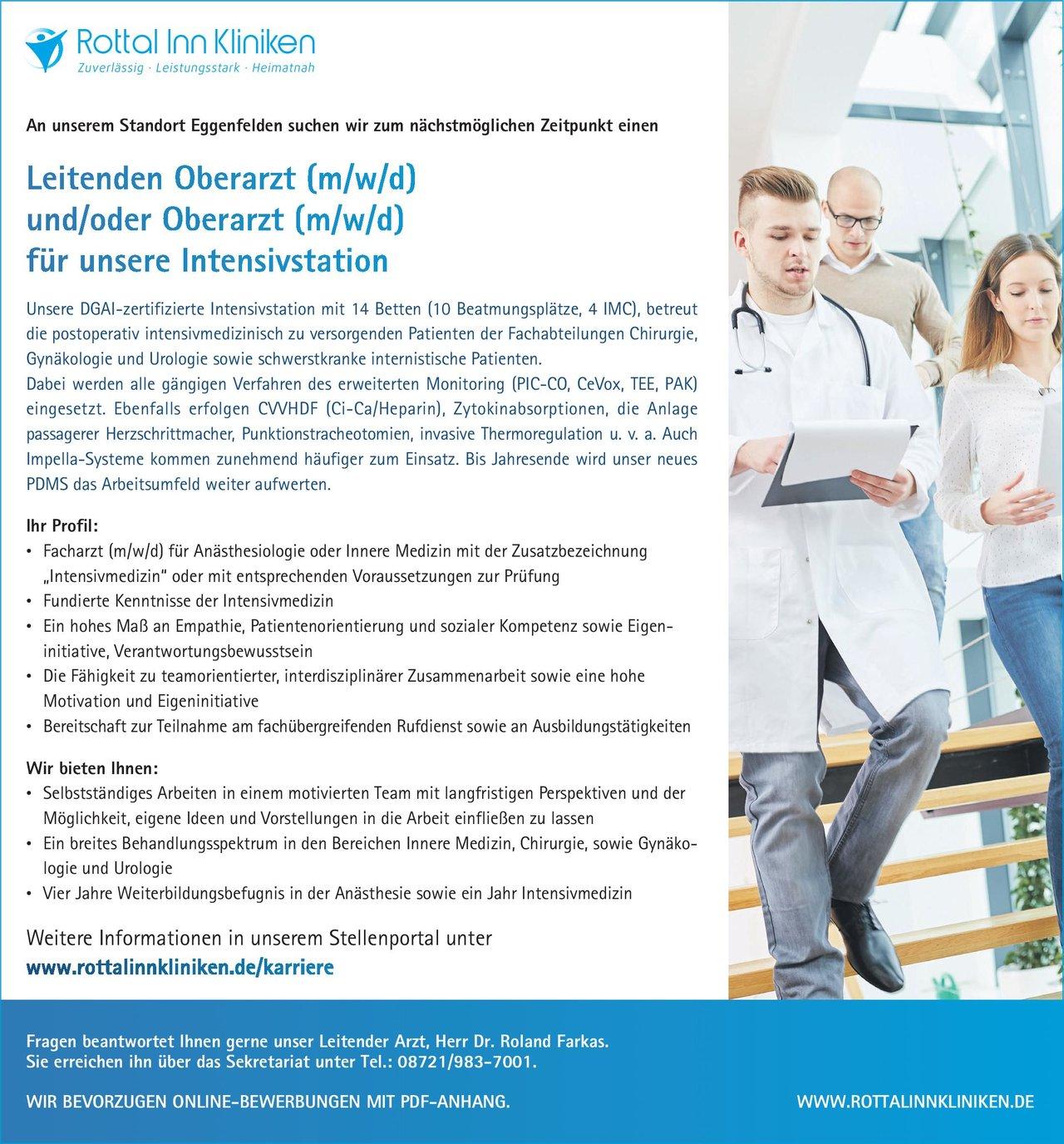 Rottal Inn Kliniken Leitender Oberarzt (m/w/d) und/oder Oberarzt (m/w/d) für unsere Intensivstation Anästhesiologie / Intensivmedizin Oberarzt