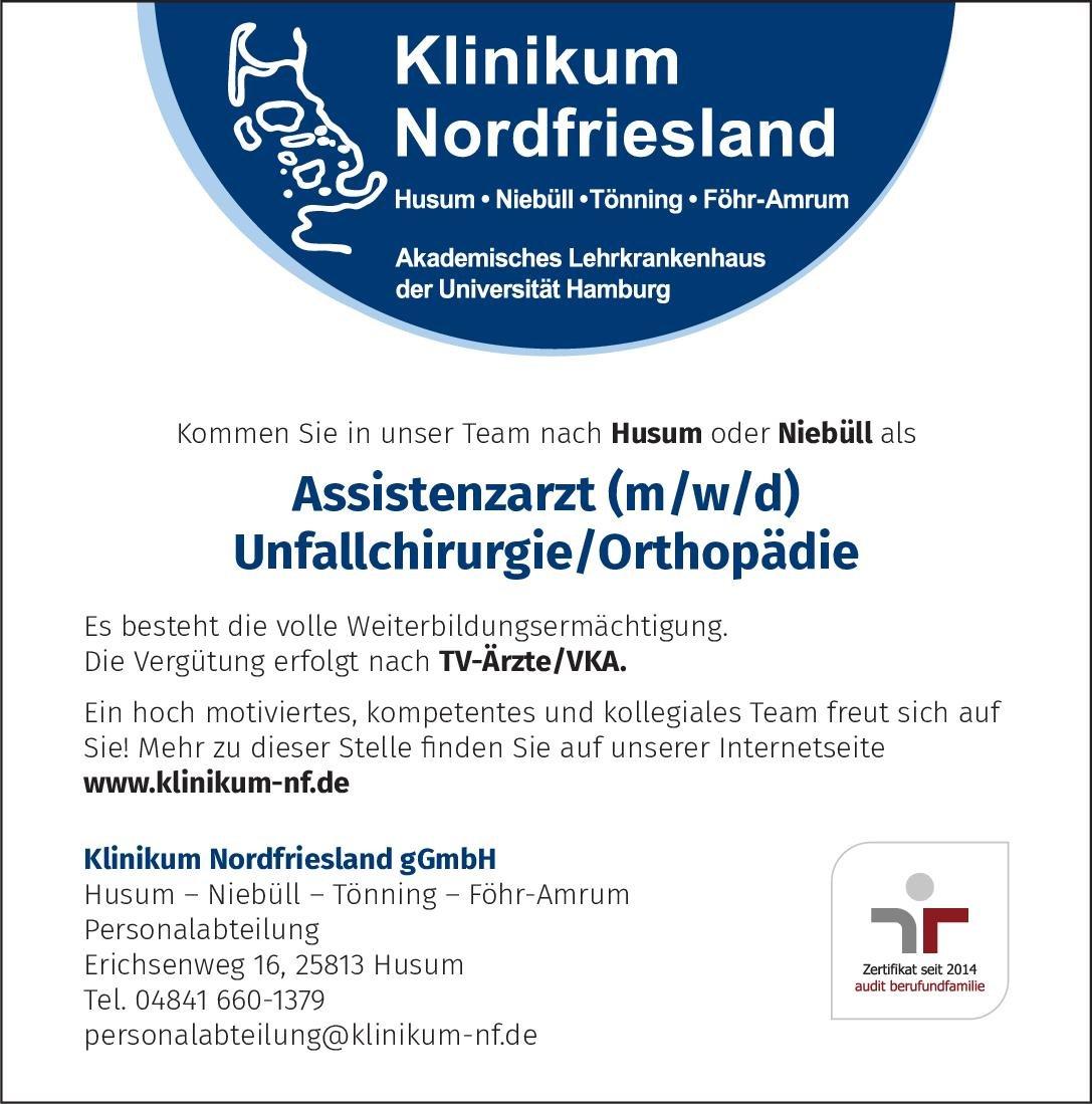 Klinikum Nordfriesland gGmbH Assistenzarzt (m/w/d) Unfallchirurgie/Orthopädie  Orthopädie und Unfallchirurgie, Chirurgie Assistenzarzt / Arzt in Weiterbildung