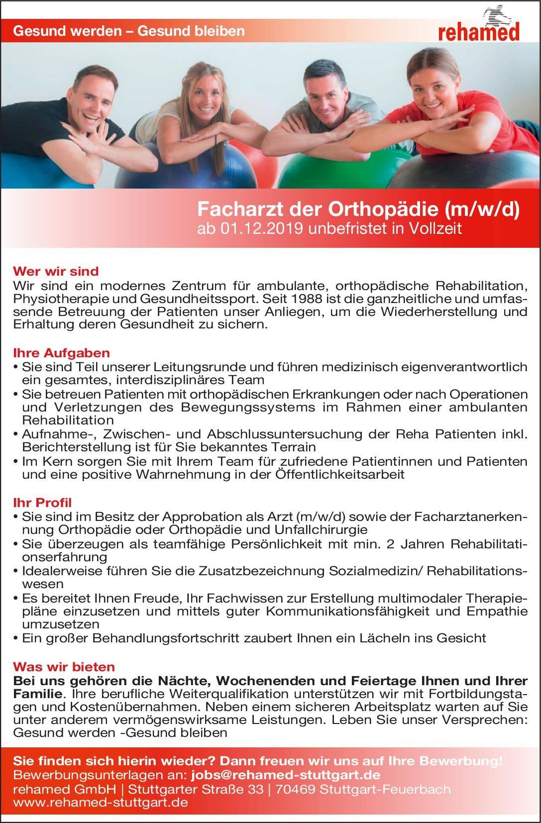 rehamed GmbH Facharzt für Orthopädie (m/w/d)  Orthopädie und Unfallchirurgie, Chirurgie Arzt / Facharzt