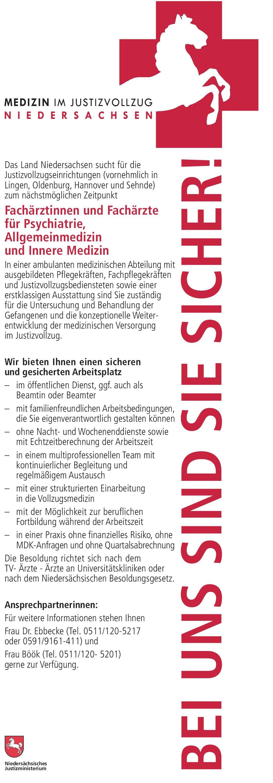 Land Niedersachsen Fachärztinnen und Fachärzte für Psychiatrie, Allgemeinmedizin und Innere Medizin  Innere Medizin, Psychiatrie und Psychotherapie, Allgemeinmedizin Arzt / Facharzt