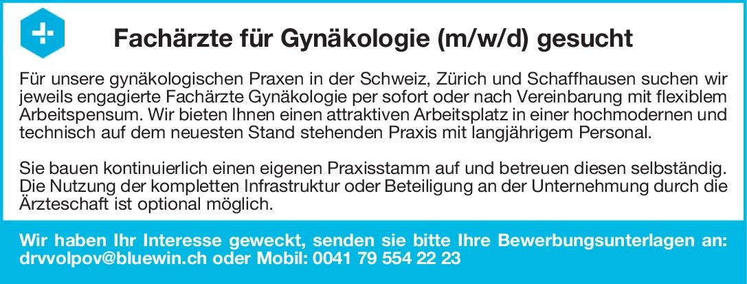 Dr. Volpov GmbH Fachärzte für Gynäkologie (m/w/d)  Frauenheilkunde und Geburtshilfe, Frauenheilkunde und Geburtshilfe Arzt / Facharzt