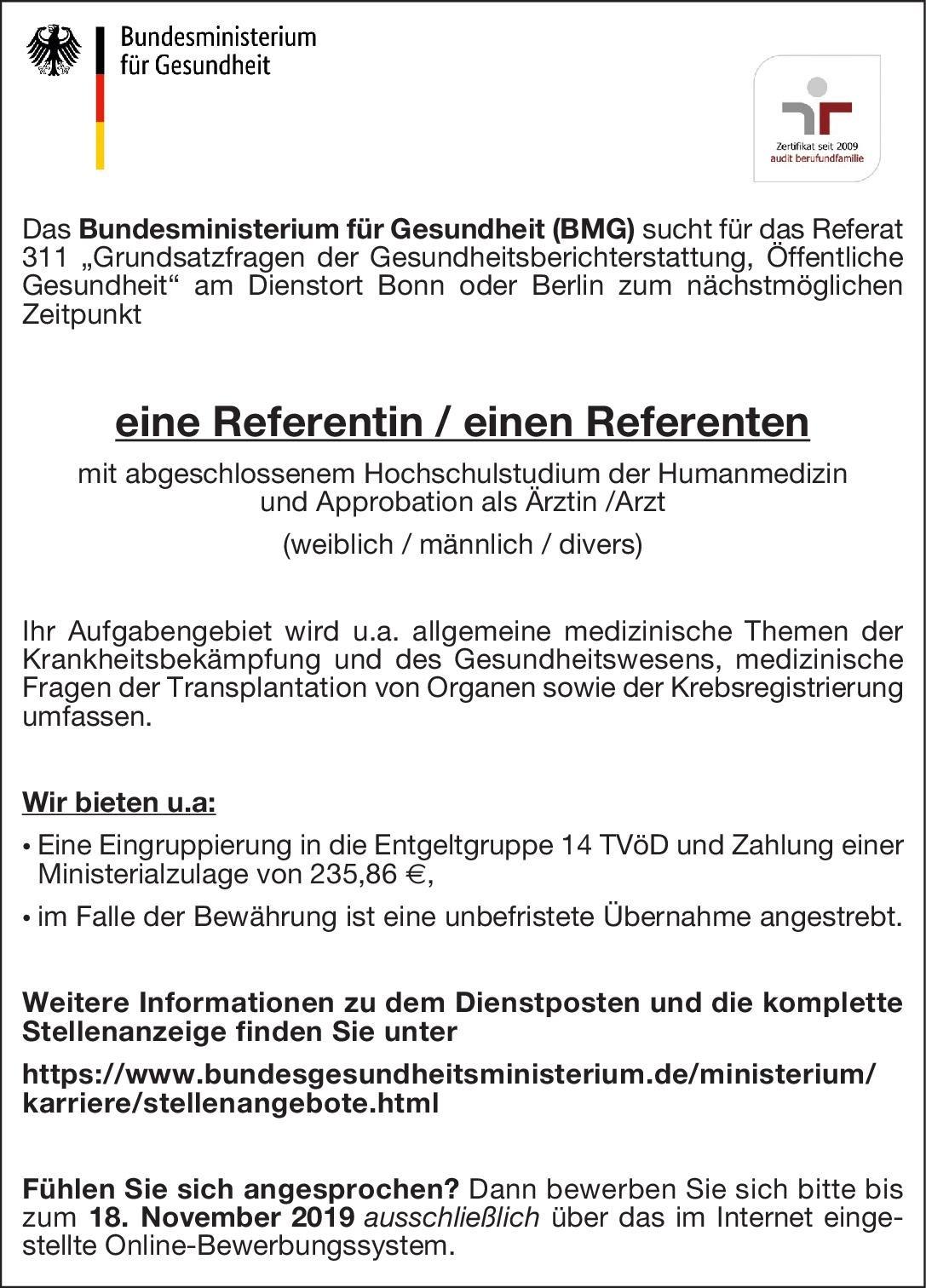 Bundesministerium für Gesundheit Referentin / Referent Öffentliches Gesundheitswesen Arzt / Facharzt
