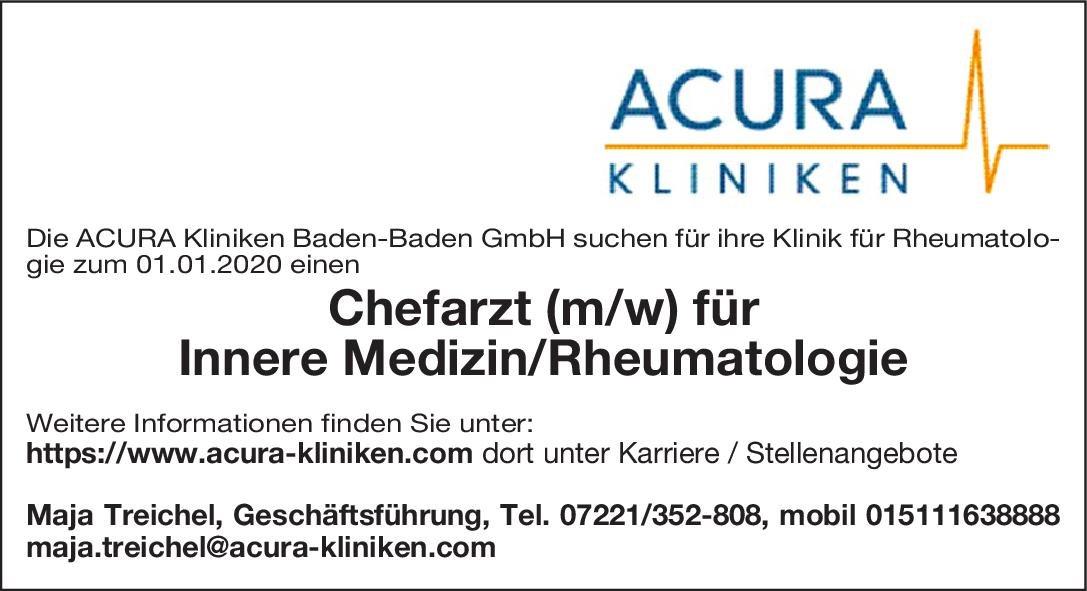 ACURA Kliniken Chefarzt (m/w) für Innere Medizin/Rheumatologie  Innere Medizin und Rheumatologie, Innere Medizin Chefarzt