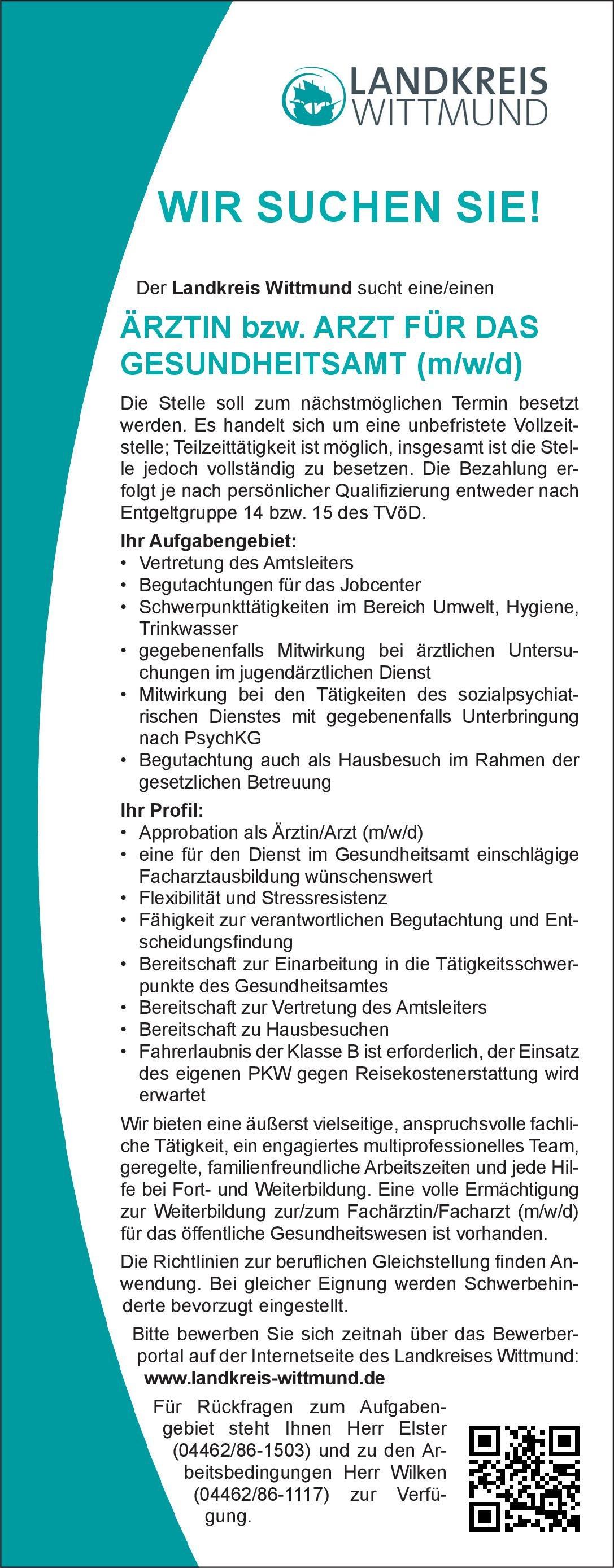 Landkreis Wittmund Ärztin bzw. Arzt für das Gesundheitsamt (m/w/d) Öffentliches Gesundheitswesen Arzt / Facharzt