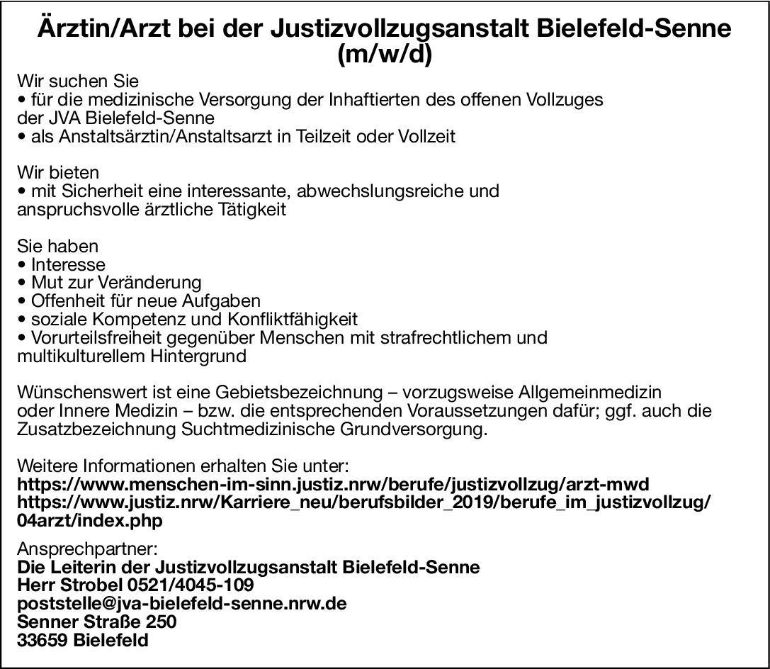 Justizvollzugsanstalt Bielefeld-Senne Anstaltsärztin/Anstaltsarzt (m/w/d) * ohne Gebiete Arzt / Facharzt