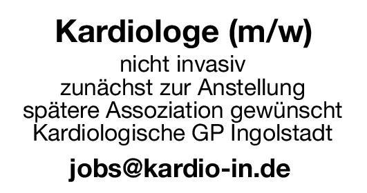 Kardiologische Gemeinschaftspraxis Kardiologe (m/w)  Innere Medizin und Kardiologie, Innere Medizin Arzt / Facharzt
