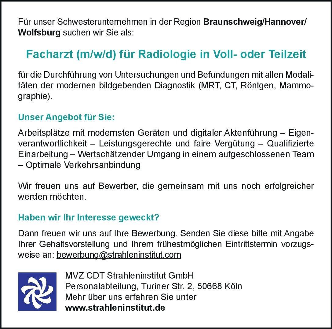 MVZ CDT Strahleninstitut GmbH Facharzt (m/w/d) für Radiologie  Radiologie, Radiologie Arzt / Facharzt