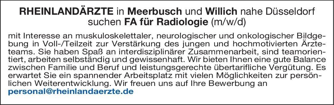 Rheinlandärzte Facharzt/Fachärztin für Radiologie (m/w/d)  Radiologie, Radiologie Arzt / Facharzt