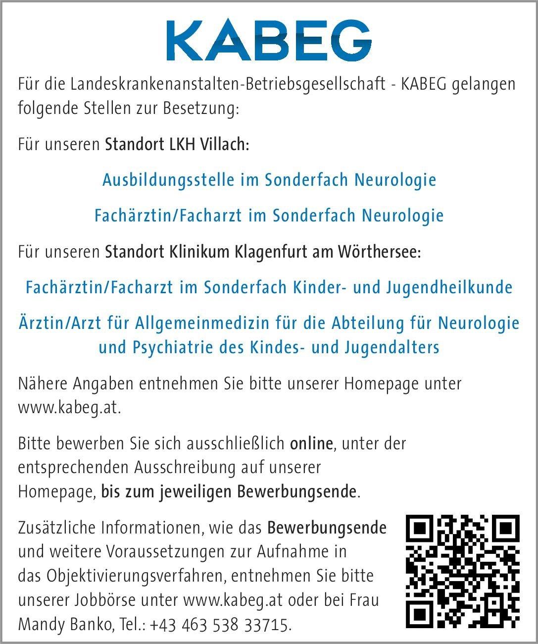 Landeskrankenanstalten-Betriebsgesellschaft - KABEG Fachärztin/Facharzt im Sonderfach Neurologie Neurologie Arzt / Facharzt