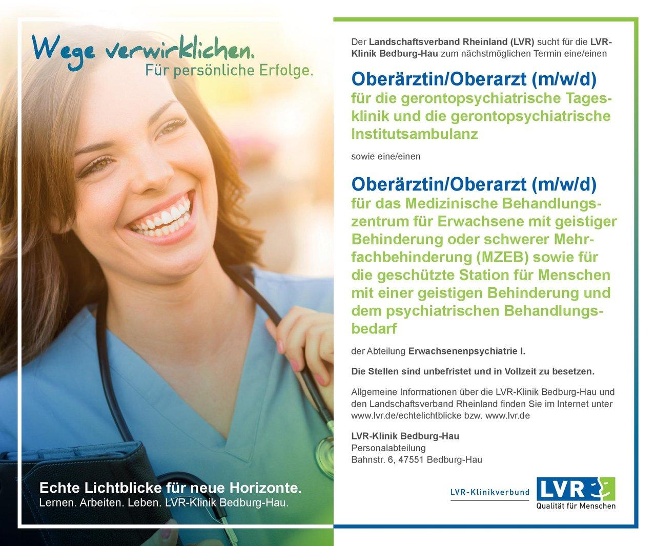 LVR-Klinik Bedburg-Hau Oberärztin/Oberarzt (m/w/d) für die gerontopsychiatrische Tagesklinik und die gerontopsychiatrische Institutsambulanz  Psychiatrie und Psychotherapie, Psychiatrie und Psychotherapie Oberarzt