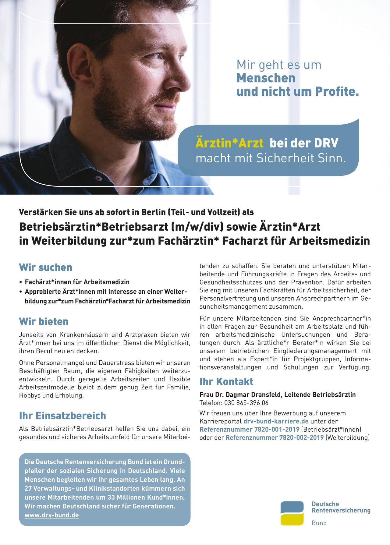 Deutsche Rentenversicherung Bund Betriebsärztin*Betriebsarzt (m/w/div) Arbeitsmedizin Arzt / Facharzt