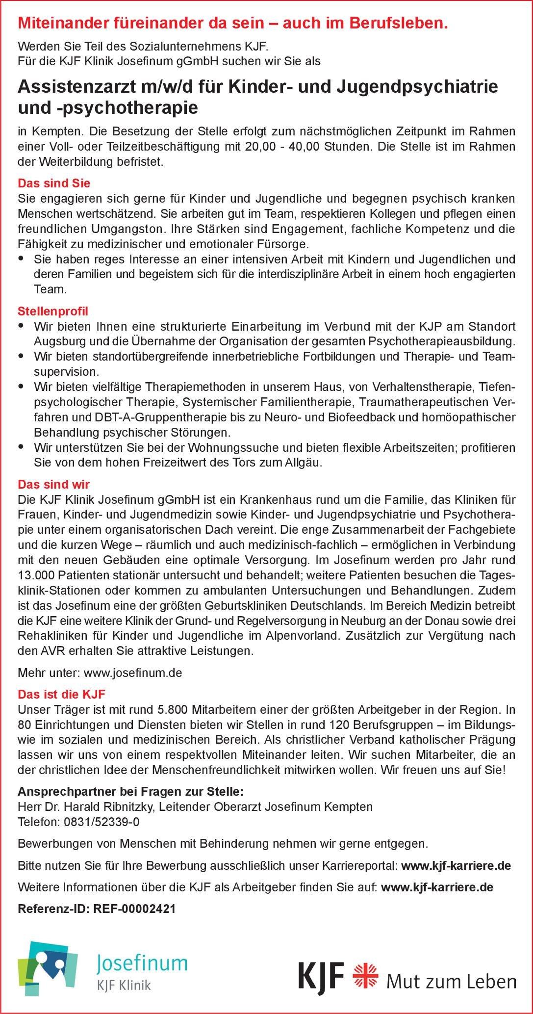 KJF Klinik Josefinum gGmbH Assistenzarzt m/w/d für Kinder- und Jugendpsychiatrie und -psychotherapie Kinder- und Jugendpsychiatrie und -psychotherapie Assistenzarzt / Arzt in Weiterbildung