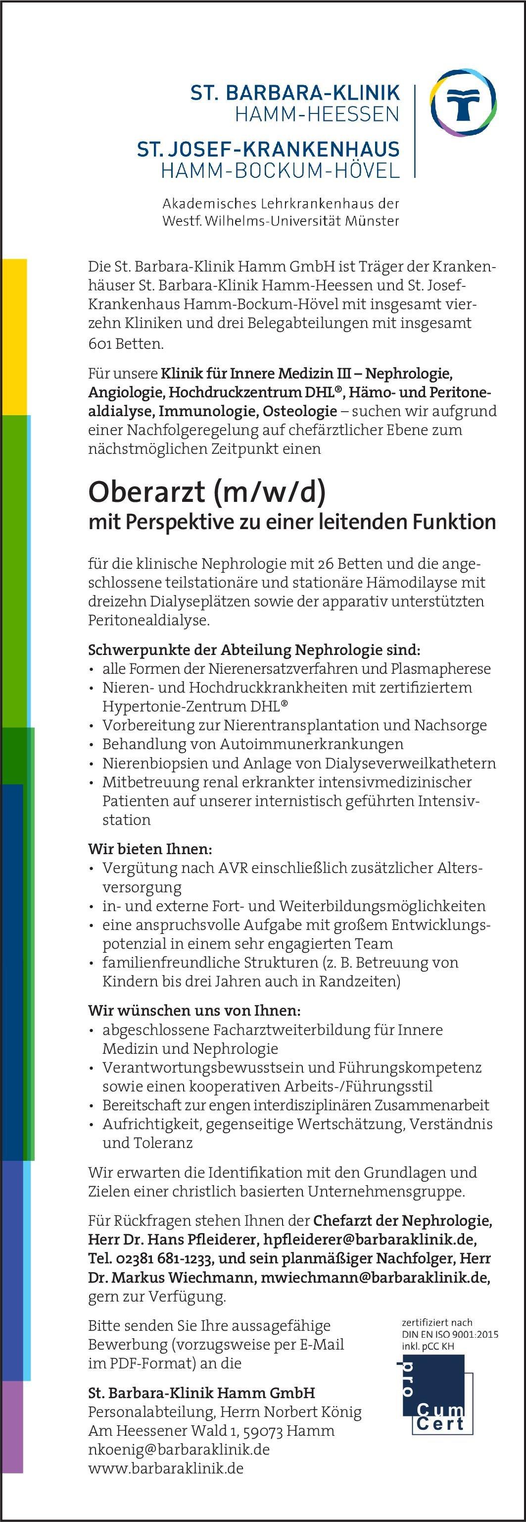 St. Barbara-Klinik Hamm GmbH Oberarzt (m/w/d) mit Perspektive zu einer leitenden Funktion - Innere Medizn III  Innere Medizin und Angiologie, Innere Medizin und Hämatologie und Onkologie, Innere Medizin und Nephrologie Oberarzt