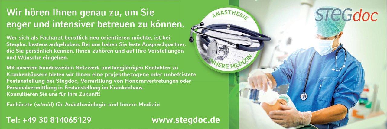 STEGdoc Fachärzte (w/m/d) für Anästhesiologie und Innere Medizin  Innere Medizin, Anästhesiologie / Intensivmedizin, Innere Medizin Arzt / Facharzt