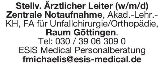 ESiS Medical Personalberatung Stellv. Ärztlicher Leiter (w/mdi) Zentrale Notaufnahme, FA für Unfallchirurgie/Orthopädie  Orthopädie und Unfallchirurgie, Chirurgie Arzt / Facharzt, Ärztl. Leiter