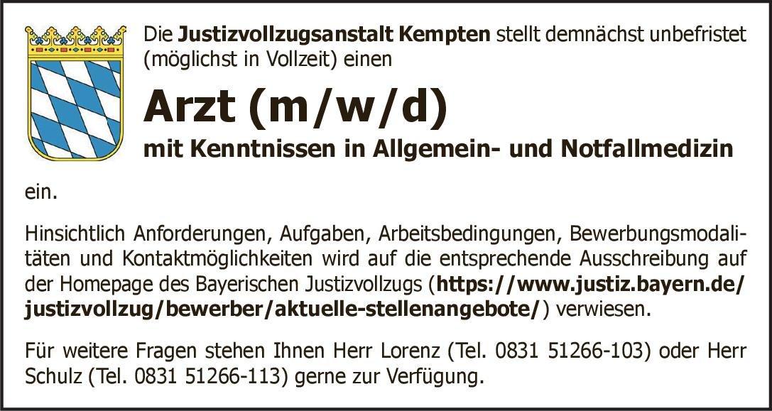 Justizvollzugsanstalt Kempten Arzt (m/w/d) mit Kenntnissen in Allgemein- und Notfallmedizin Allgemeinmedizin, Notfallmedizin Arzt / Facharzt