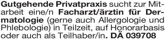 Privatpraxis Facharzt/ärztin für Dermatologie Haut- und Geschlechtskrankheiten Arzt / Facharzt