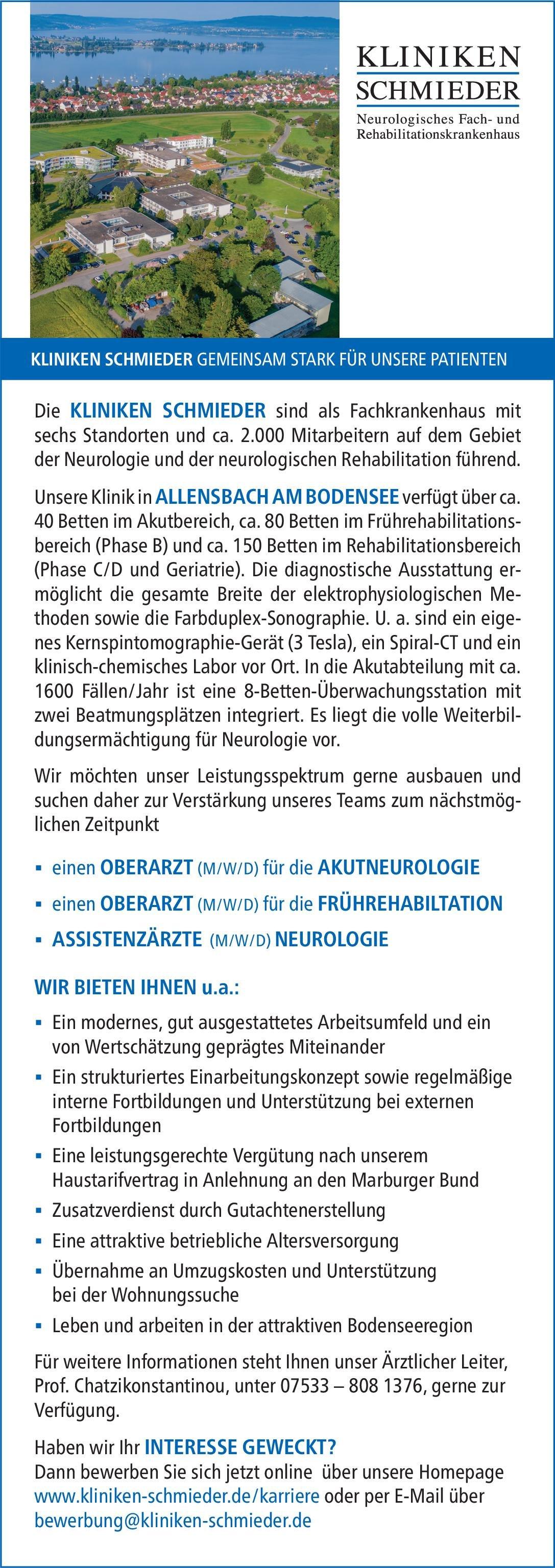 Kliniken Schmieder - Allensbach am Bodensee Oberarzt (m/w/d) für die Akutneurologie Neurologie Oberarzt