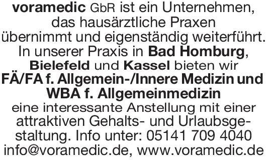 voramedic GbR FÄ/FA f. Allgemein-/Innere Medizin und WBA f. Allgemeinmedizin  Innere Medizin, Allgemeinmedizin, Innere Medizin Arzt / Facharzt, Assistenzarzt / Arzt in Weiterbildung