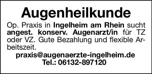 Op. Praxis Augenarzt/in - Augenheilkunde Augenheilkunde Arzt / Facharzt