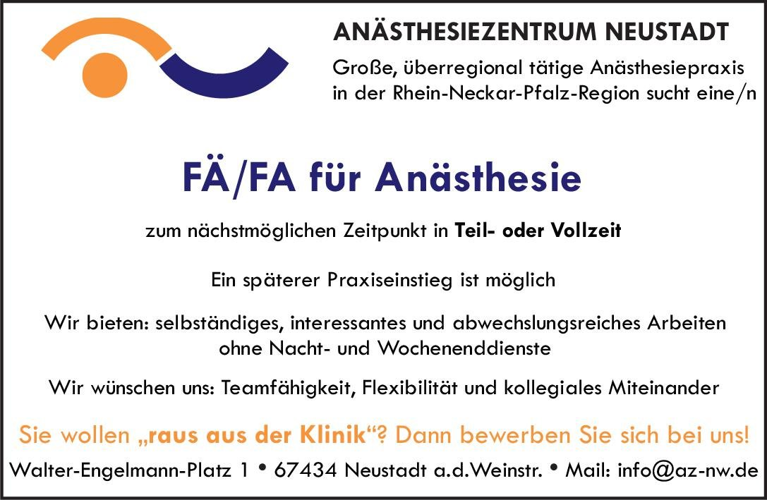 ANÄSTHESIEZENTRUM NEUSTADT Fachärztin/Facharzt Anästhesie Anästhesiologie / Intensivmedizin Arzt / Facharzt