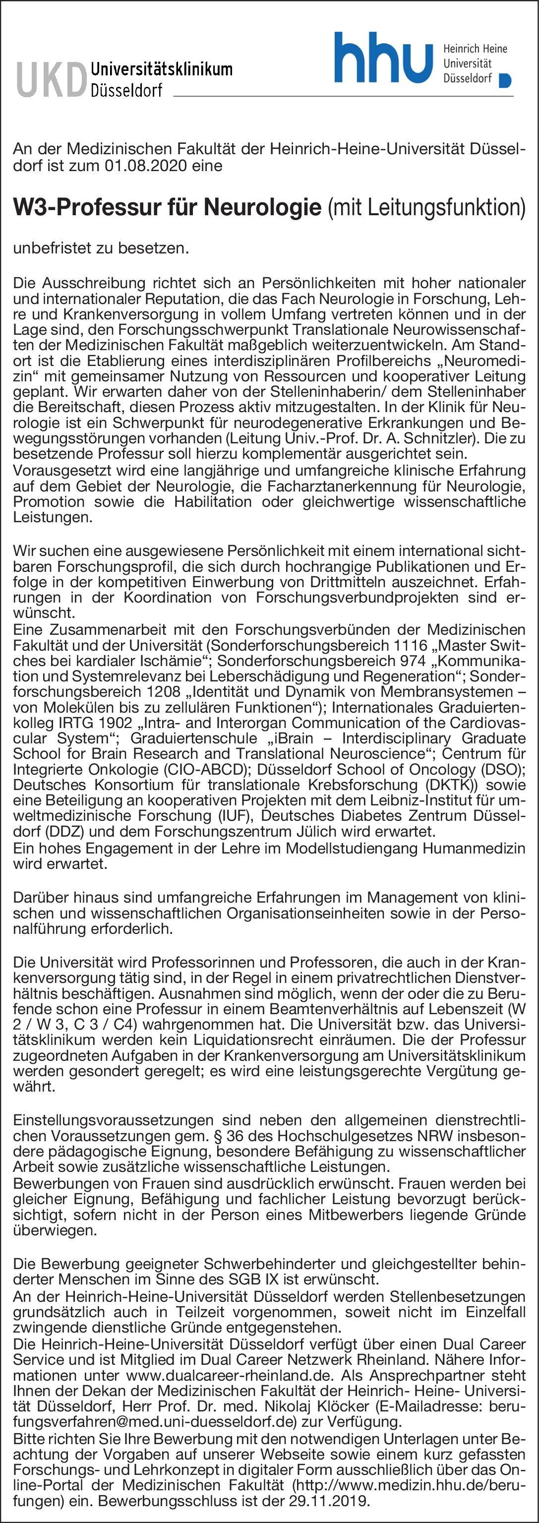 Heinrich-Heine-Universität W3-Professur für Neurologie (mit Leitungsfunktion) Neurologie Professor