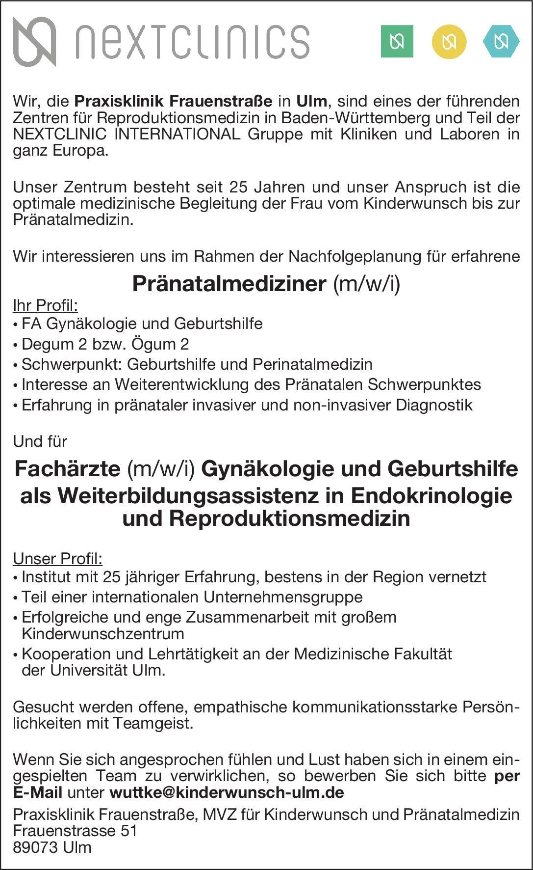Praxisklinik Frauenstraße Pränatalmediziner (m/w/i)  Frauenheilkunde und Geburtshilfe, Frauenheilkunde und Geburtshilfe Arzt / Facharzt