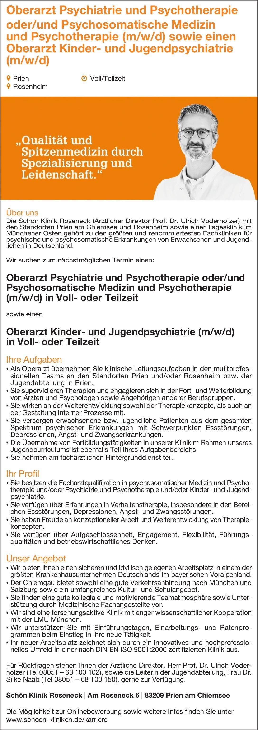 Schön Klinik Roseneck Oberarzt Psychiatrie und Psychotherapie  Psychiatrie und Psychotherapie, Psychiatrie und Psychotherapie Oberarzt