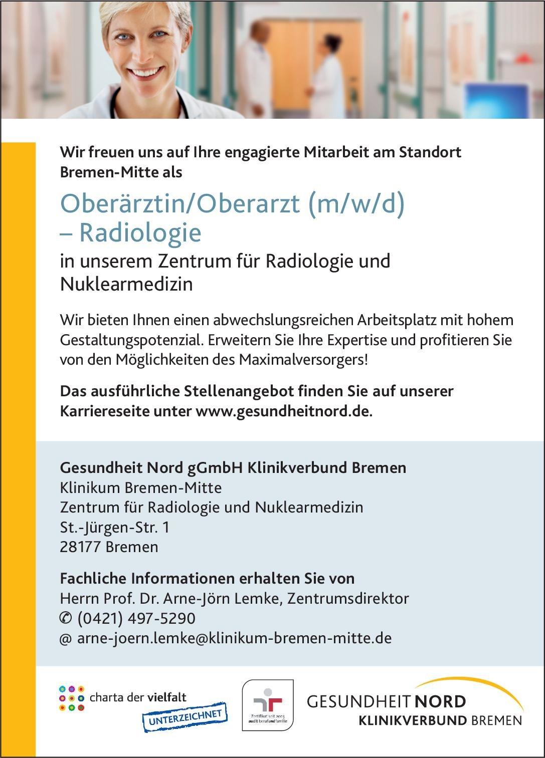 Gesundheit Nord gGmbH Klinikverbund Bremen Oberärztin/Oberarzt (m/w/d) - Radiologie  Radiologie, Radiologie Oberarzt
