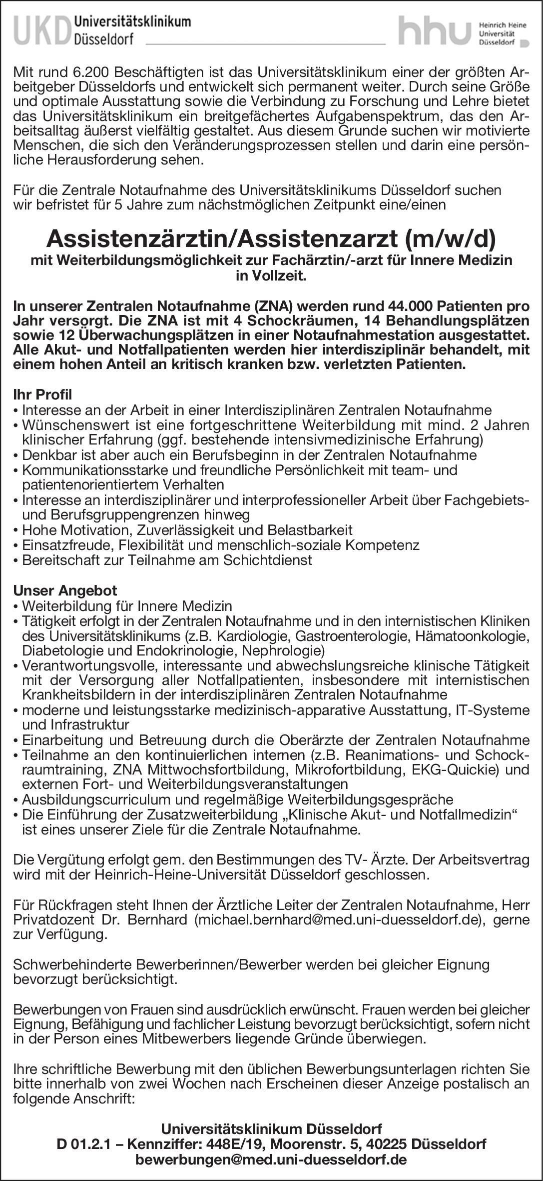 UKD Universitätsklinikum Düsseldorf Assistenzärztin/Assistenzarzt (m/w/d)  Innere Medizin, Innere Medizin Assistenzarzt / Arzt in Weiterbildung