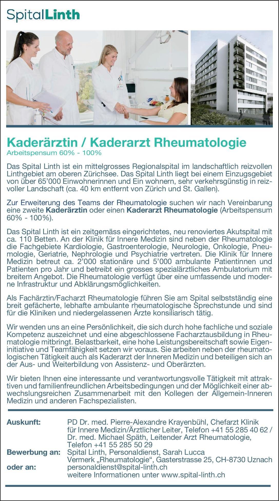 Spital Linth Kaderärztin/Kaderarzt Rheumatologie 60%-100%  Innere Medizin und Rheumatologie, Innere Medizin Arzt / Facharzt