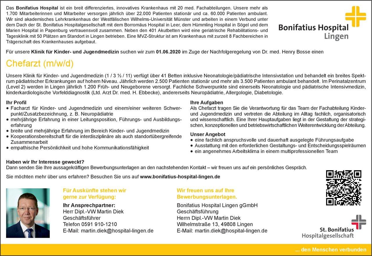 Bonifatius Hospital Lingen gGmbH Chefarzt (m/w/d) Kinder- und Jugendmedizin  Kinder- und Jugendmedizin, Kinder- und Jugendmedizin Chefarzt