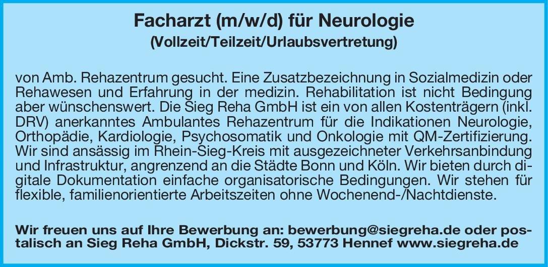 Sieg Reha GmbH Facharzt (m/w/d) für Neurologie Neurologie Arzt / Facharzt