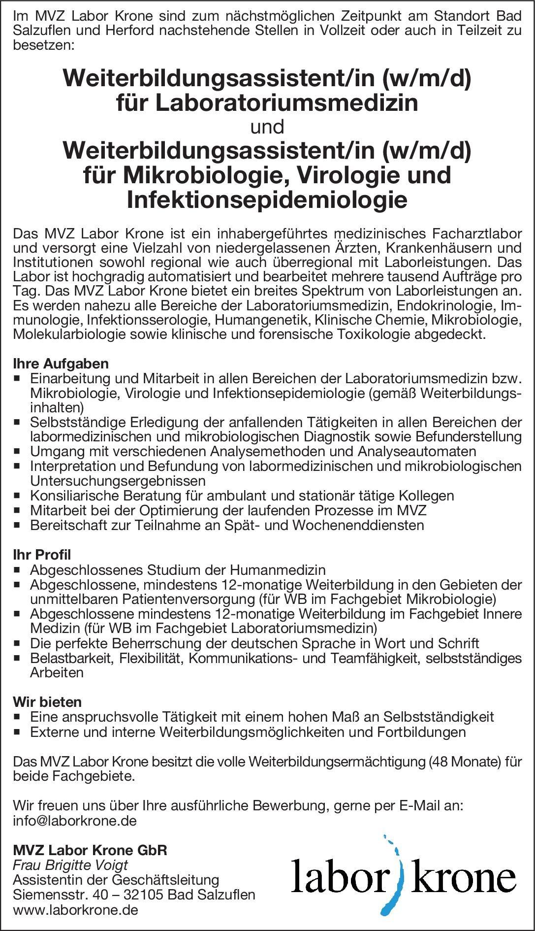 MVZ Labor Krone GbR Weiterbildungsassistent/in (w/m/d) für Mikrobiologie, Virologie und Infektionsepidemiologie Mikrobiologie und Infektionsepidemiologie Assistenzarzt / Arzt in Weiterbildung