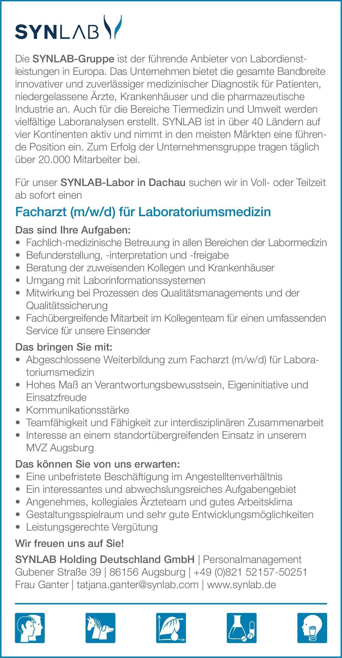 SYNLAB Holding Deutschland GmbH - SYNLAB-Labor in Dachau Facharzt (m/w/d) für Laboratoriumsmedizin Laboratoriumsmedizin Arzt / Facharzt