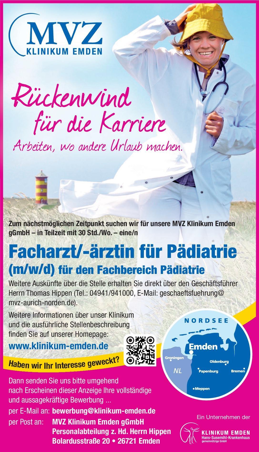 MVZ Klinikum Emden gGmbH Facharzt/-ärztin für Pädiatrie  Kinder- und Jugendmedizin, Kinder- und Jugendmedizin Arzt / Facharzt