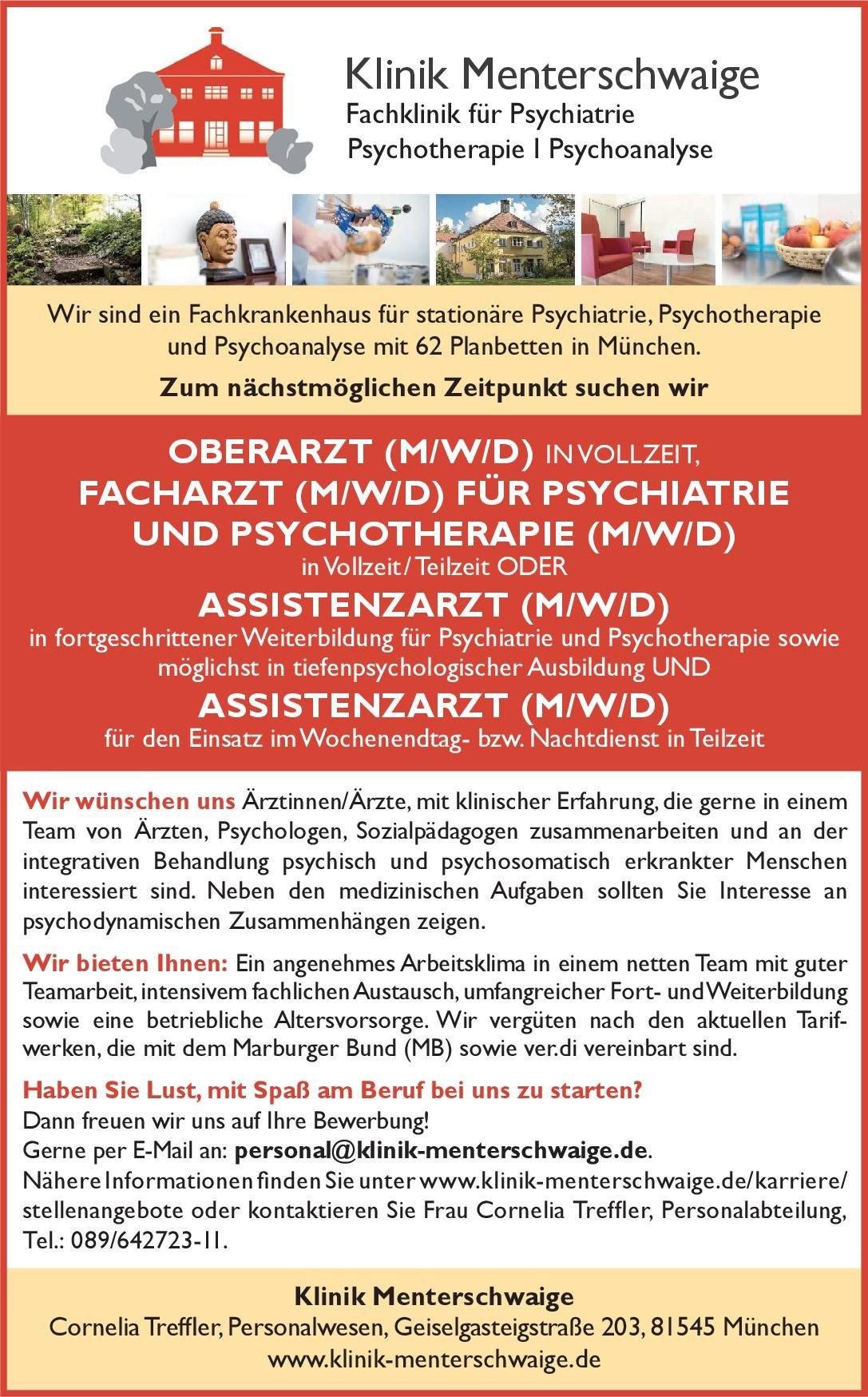 Klinik Menterschwaige Oberarzt (m/w/d) in Vollzeit  Psychiatrie und Psychotherapie, Psychiatrie und Psychotherapie Oberarzt
