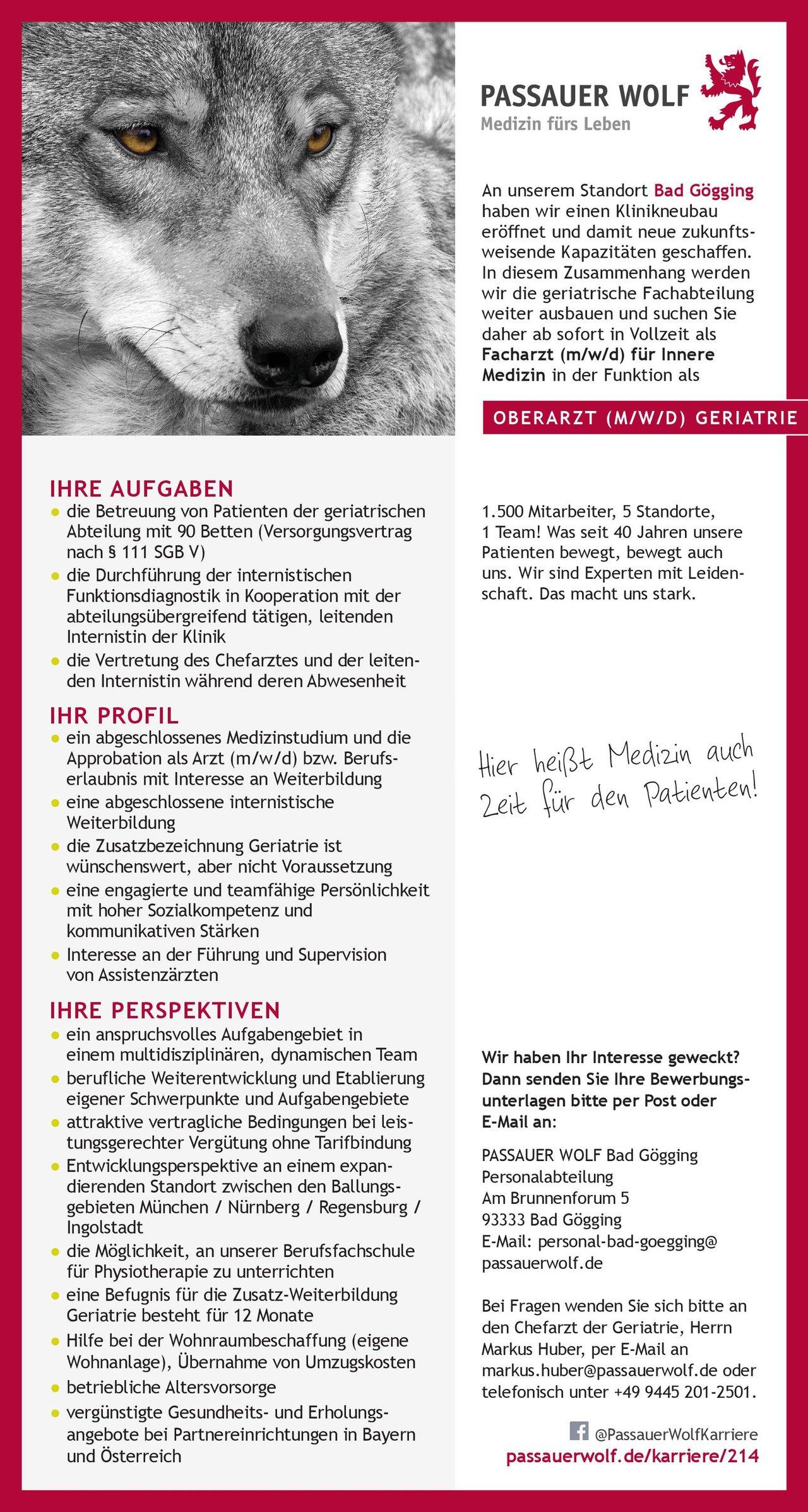 Passauer Wolf Bad Gögging Oberarzt (m/w/d) Geriatrie Geriatrie Oberarzt