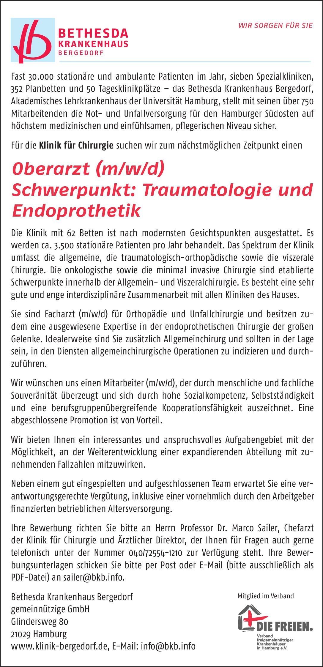 Bethesda Krankenhaus Bergedorf gGmbH Oberarzt (m/w/d) Schwerpunkt: Traumatologie und Endoprothetik  Orthopädie und Unfallchirurgie, Chirurgie Oberarzt
