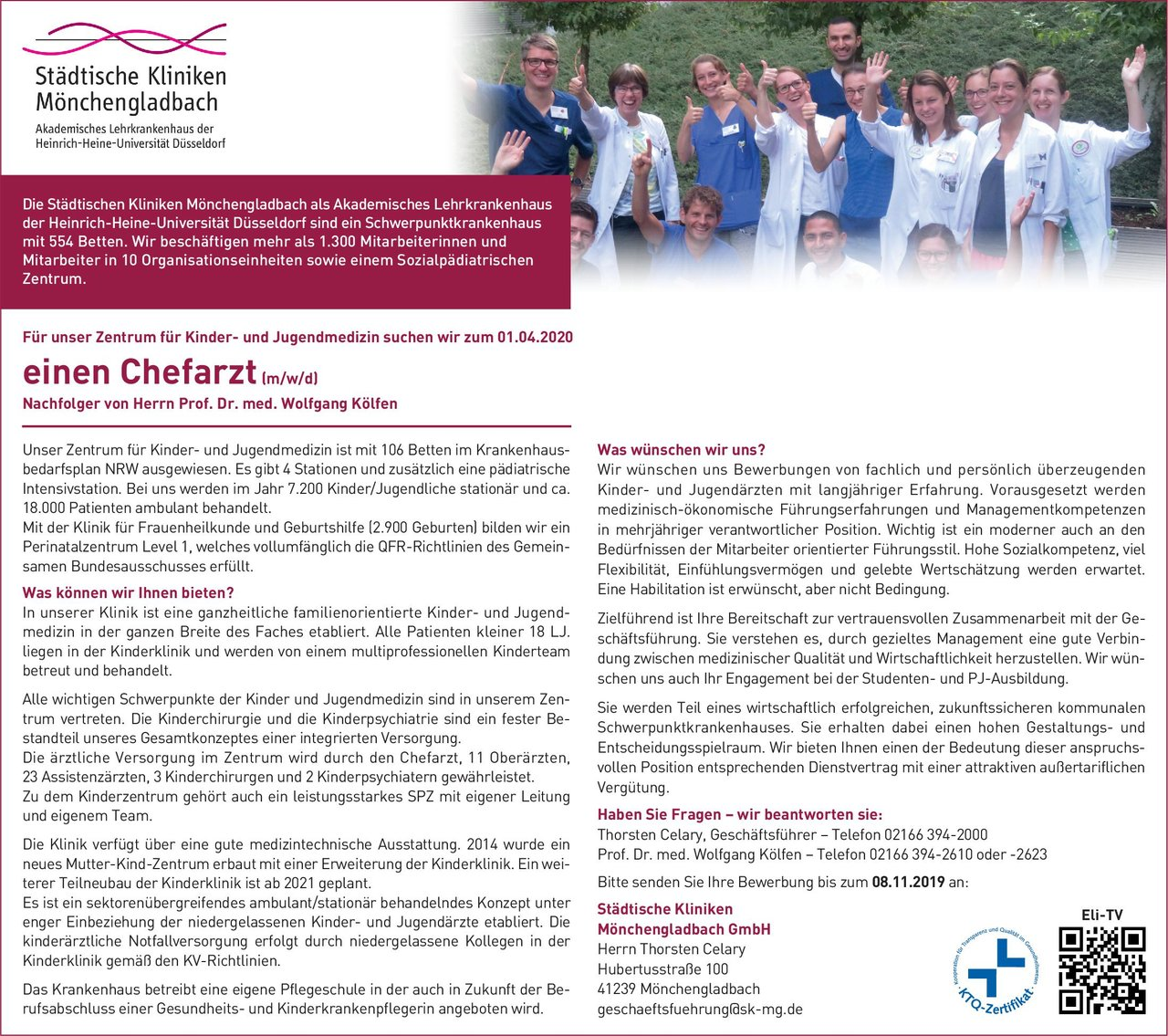 Städtische Kliniken Mönchengladbach GmbH Chefarzt (m/w/d) für Kinder- und Jugendmedizin  Kinder- und Jugendmedizin, Kinder- und Jugendmedizin Chefarzt
