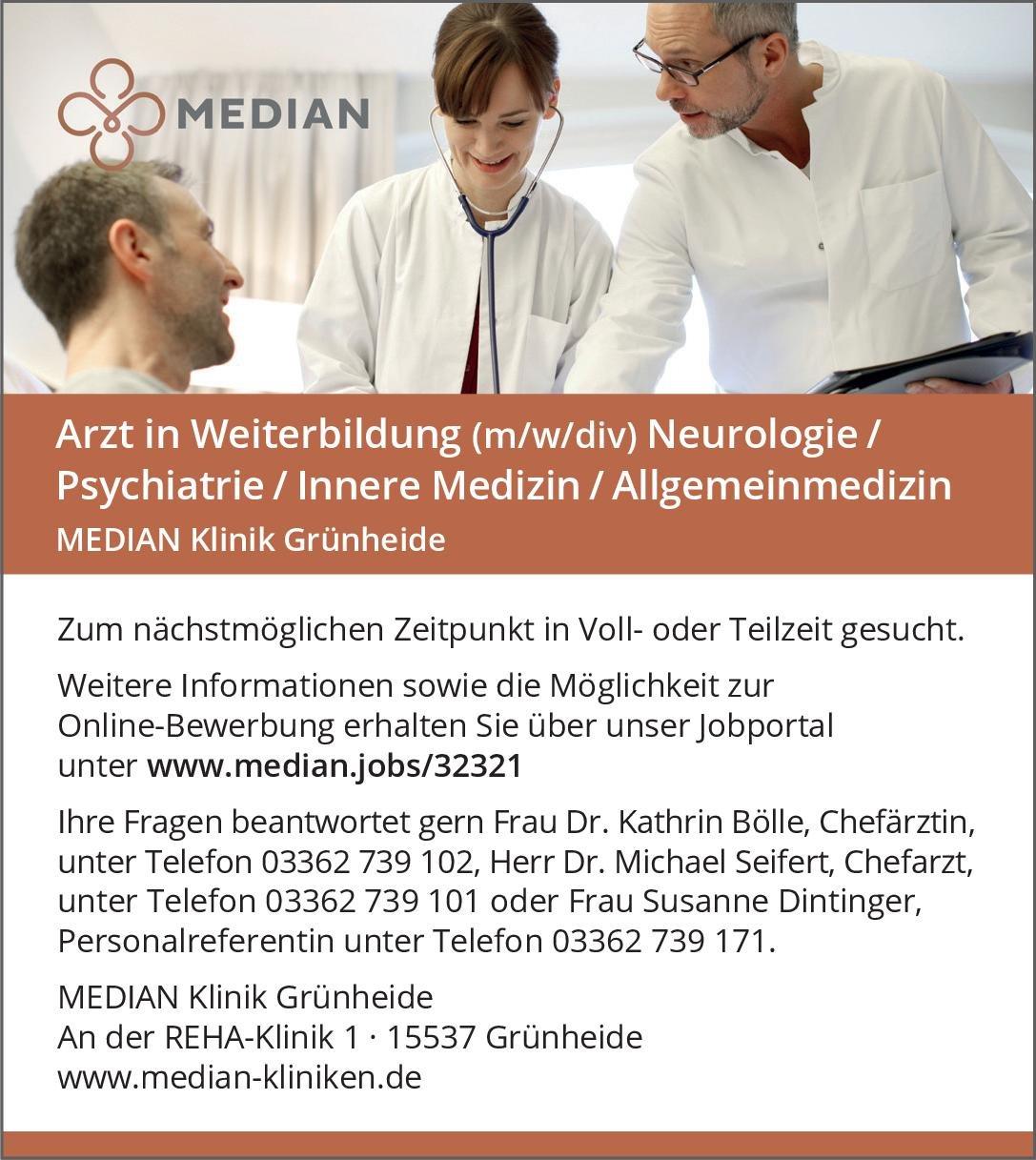 MEDIAN Klinik Grünheide Arzt in Weiterbildung (m/w/div) Neurologie /Psychiatrie / Innere Medizin / Allgemeinmedizin Allgemeinmedizin, Innere Medizin, Neurologie Assistenzarzt / Arzt in Weiterbildung