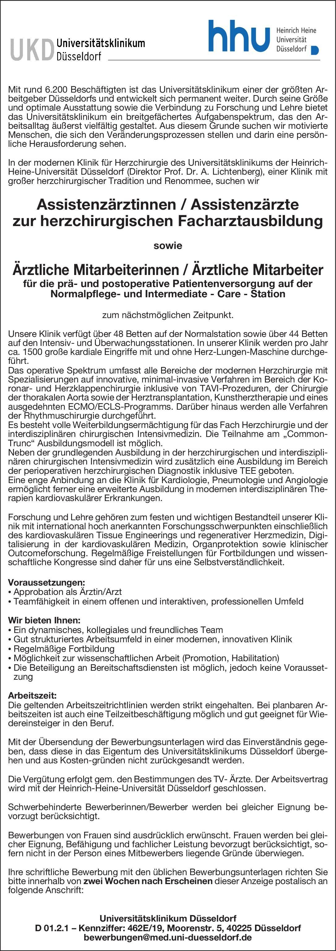 Universitätsklinikum Düsseldorf Assistenzärztinnen / Assistenzärzte zur herzchirurgischen Facharztausbildung  Herzchirurgie, Chirurgie Assistenzarzt / Arzt in Weiterbildung