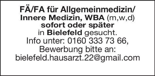 FÄ/FA für Allgemeinmedizin  Innere Medizin, Allgemeinmedizin, Innere Medizin Arzt / Facharzt
